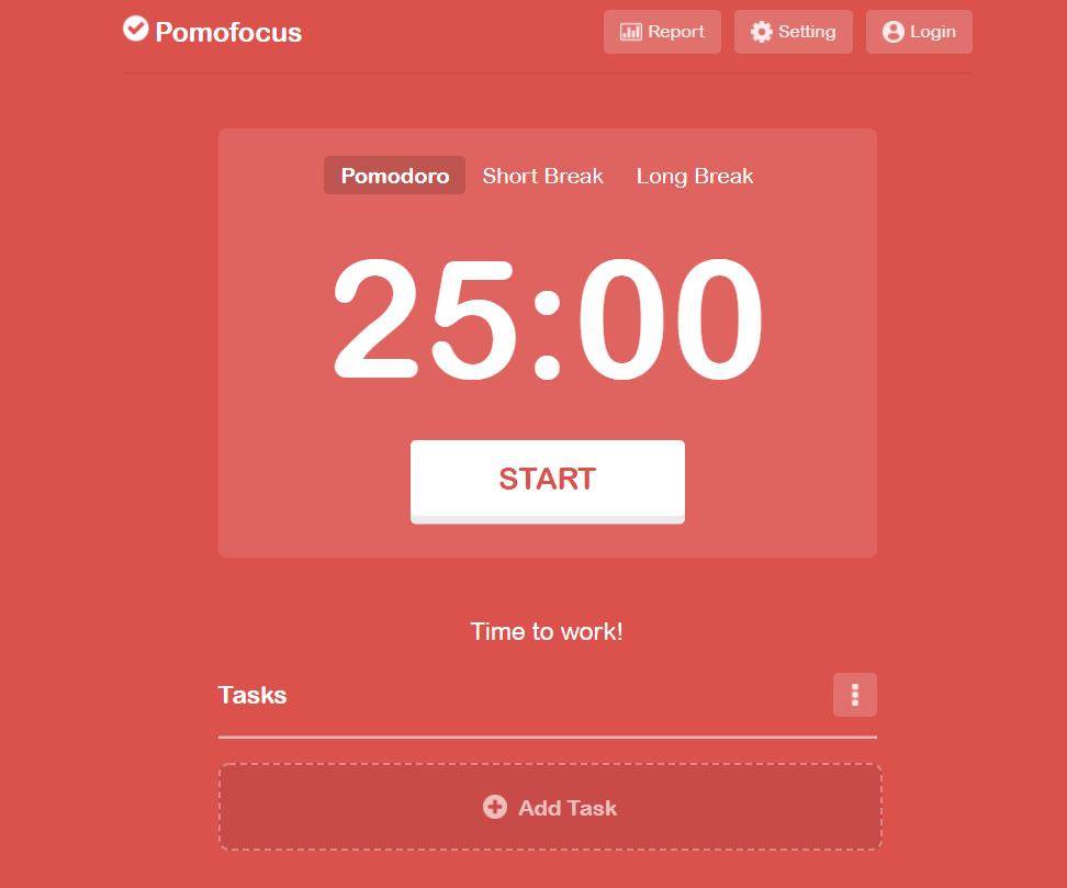 Widok z aplikacji Pomofocus, dzięki której zwiększysz wydajność jako programista